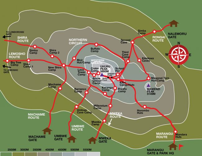 Ratgeber Kilimanjaro Trekking Routen Karte